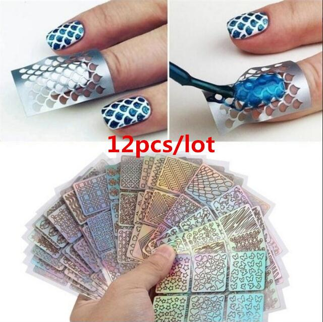 12 feuilles / Lot réutilisables 3D nail art DIY autocollants guide de vinyle pochoir creuse autocollant manucure onde courbe laser pointe