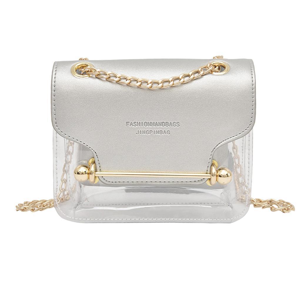 Lady Fashion trasparente Tracolla Piazza Portafoglio sacchetto del messaggero + mano