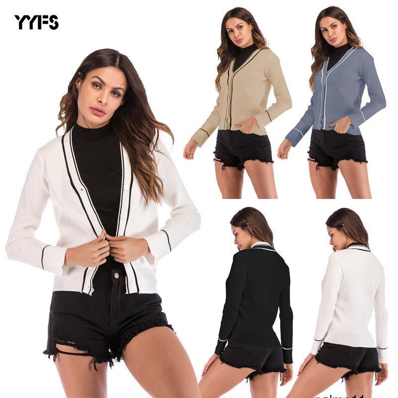 Frauen Designer-Pullover Herbstmantel weiblichen V-Ausschnitt Farbabmusterung Strickjacke lange Hülsenknopf kurze Pullover stricken ALI5