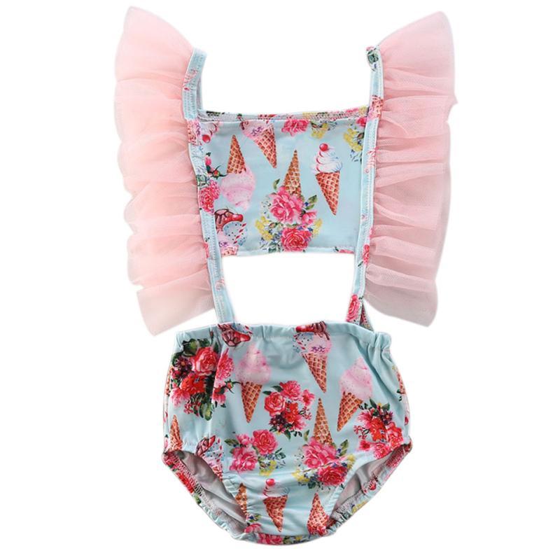 2020 الصيف ملابس السباحة الرضع أطفال طفل الفتيات شبكة منزعج ملابس السباحة ملابس السباحة ازياء بيكيني الآيس كريم الاستحمام البدلة 1-6T