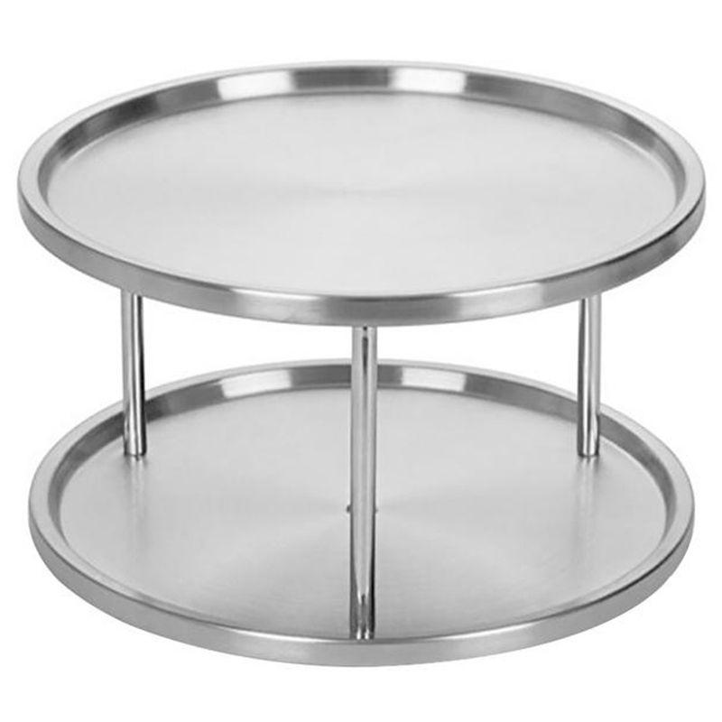 Spice Rack in acciaio inox Organizzatore Vassoio 360 gradi di rotazione della piattaforma girevole 2 Stand per Dining Table Cucina Contatori armadi