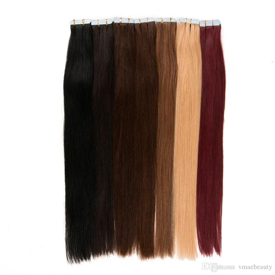 Fita escura Brown # 2 em extensões de cabelo humano Double desenhado trama de pele brasileira cabelo liso 40 pçs / set 100% cabelo humano 22 24 polegadas