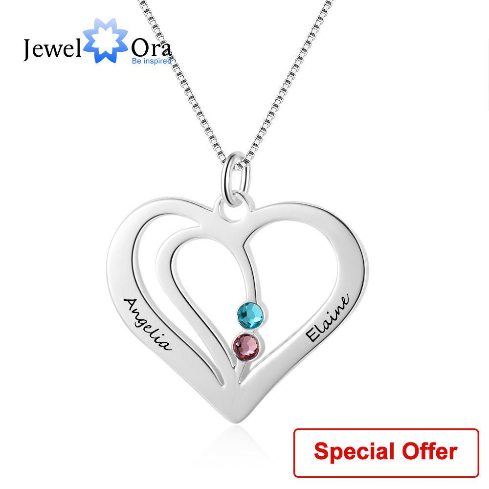 Name Necklace Personalized Carved Name Birthstone Heart Shape 925 Sterling Silver Necklaces & Pendants (jewelora Ne102359) C19041201