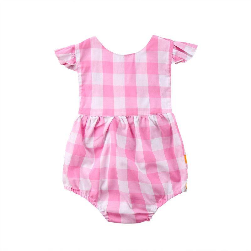 Pudcoco filles Mode Bébé Bodysuit Bébé Fille Rose Plaid Backless Boysuit Outfit vêtements d'été 0-24M