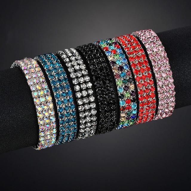 3 file stirata Braccialetti Braccialetti di cristallo colorato strass elastiche per monili delle donne Bling regalo della ragazza da sposa