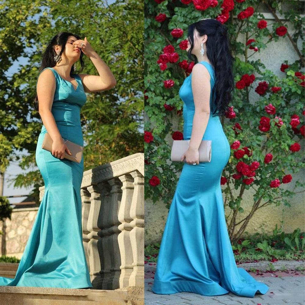 V-Neck sirena sexy semplice Prom Dresses naturale cintola su ordine formale Robe de mariée su ordine speciale occasione partito abiti