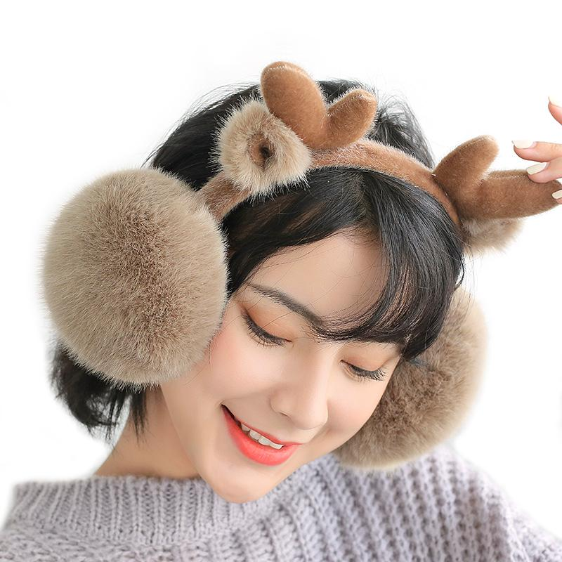 Winter Ear Warmers Adult Plush Thick Fluffy Ear Muffs Earwarmer for Women