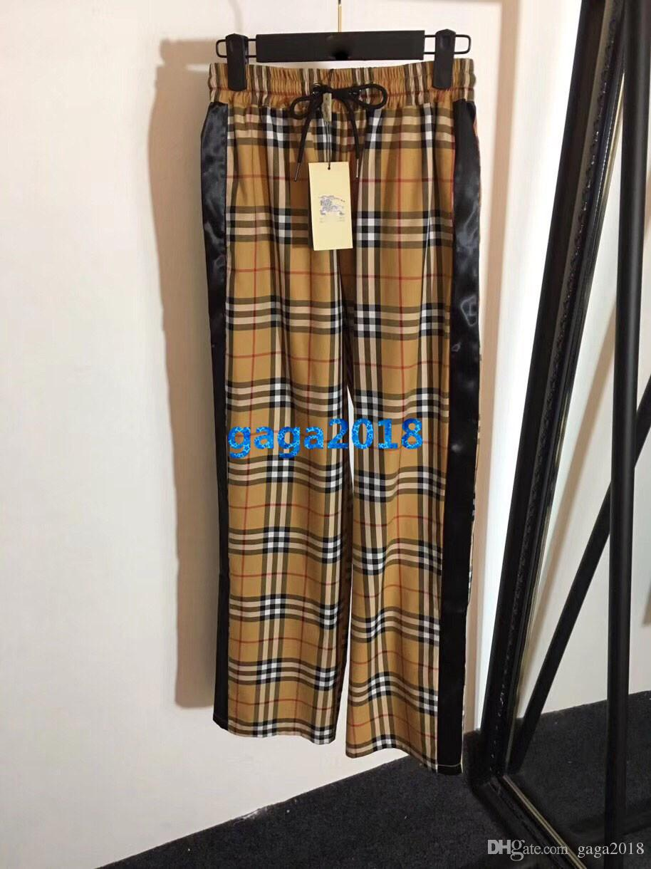 women girls vintage check cotton trousers plaid striped print wide leg relaxed loose pants high-end fashion luxury runway drawstring jogging