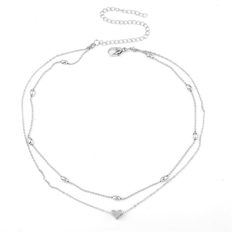 Conjunto de colar gargantilha multicamadas Layered clavícula colar de corrente para as mulheres