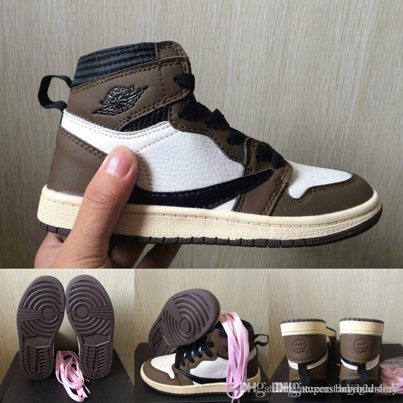 Kids Cactus Jack 1 Basketball Shoes OG 1s Travis Scott Sneakers Children Sports Shoes Boy Girl Toddler Trainer Running Shoes