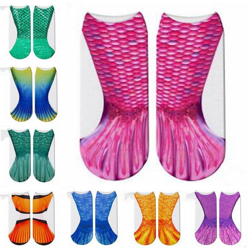 Mermaid 3D Socks Mermaid Tail Beach Sock Mermaid Fashion Socks Harajuku Digital Printed Cosplay Fish Scales Sock Funny Boot Hosiery CZYQ4578