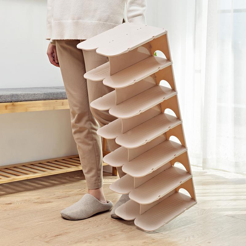 6-Layer Stackable Shoe Hanger Creative Foldable Space Saving Wardrobe Storage Rack Practical Multi-layer Shoes Stand Organizers