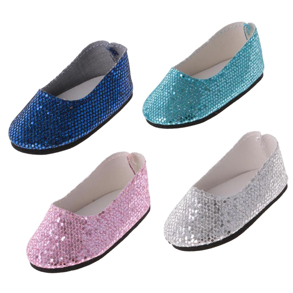 4 Pairs Bling Bling Sequins Shoes for 14/'/' AG American Doll Wellie Wisher Dolls