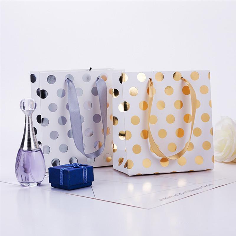 Papier Petit Or Argent métallisé Dots Sacs cadeaux avec ruban Poignées petits sacs cadeaux pour mariée mariage anniversaire Vacances de Noël XD23272