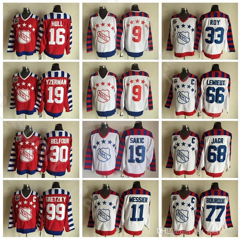 Tutto CCM Star 2016 Vintage Hockey Maglie Ice 66 Mario Lemieux 68 Jaromir Jagr 77 Ray Bourque 99 Wayne Gretzky 33 Patrick Roy