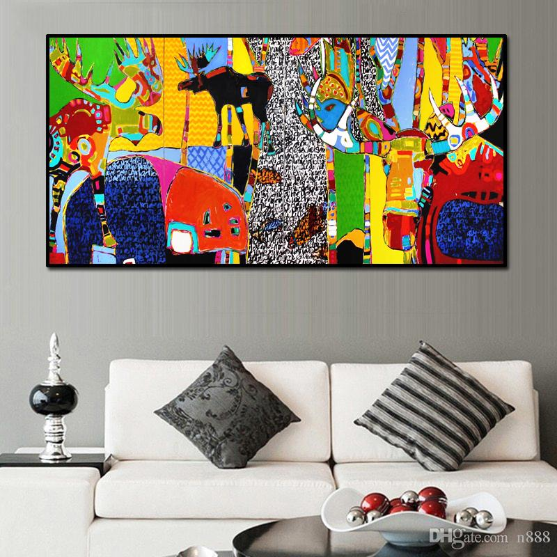 2021 Abstract Wall Art Cartoon Animal Pictures Decorative Painting For Living Room Big Size Picture Modern Art Home Decor 191006 From N888 22 39 Dhgate Com
