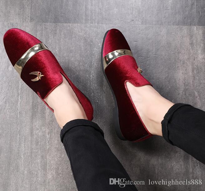 2019 Noble Men Kleid Schuhe Velvet Loafers Slip-on Men Wohnungen Gold Tooth Decoration Plus Size Schwarz Burgund Royal Blue