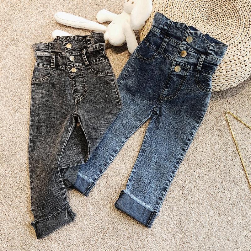 Boys Girls Jeans Spring Summer Denim Ninth Trousers Kids Children Casual Pants