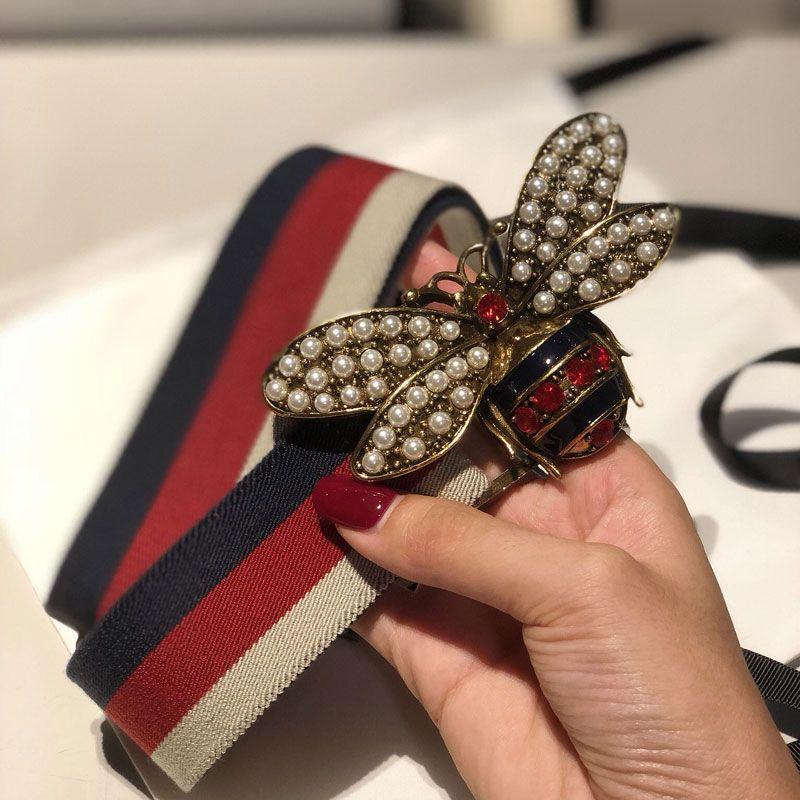 Sıcak satış 2019 Moda Kırmızı arı Toka Erkekler Kadınlar lüks Kayışlar Avrupa Tarzı Yüksek hediye 5681 için Elastik örgü kuşak bel bantları
