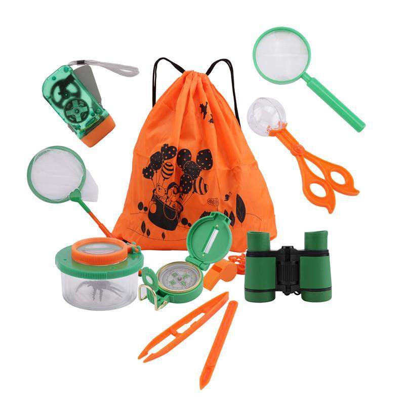 11pcs Kids Adventurer Exploration Equipment Set Outdoor Explorer Kit for Camping Hunting and Hiking Children Educational Toys