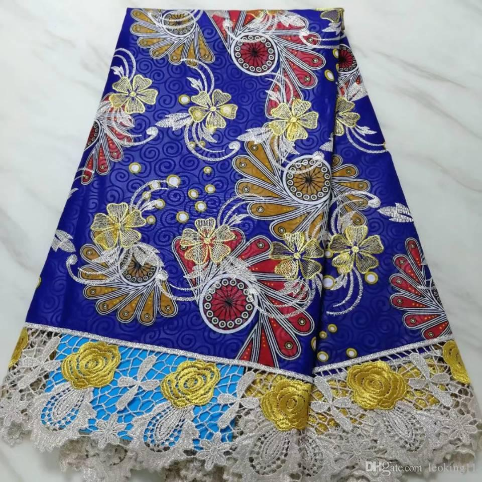 5Yards/pc Beautiful royal blue wax fabric printed embroidery african water soluble lace for clothes BW58-2