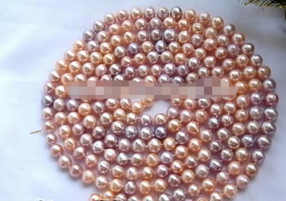 """ENVÍO GRATIS ++ 100 """"9-10mm redondo rosa púrpura collar de perlas de agua dulce"""