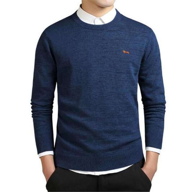 Standard Solid Jerseys completa mangas del O-Cuello 100% cachemira visón Auturm invierno de los hombres formal suéter de punto