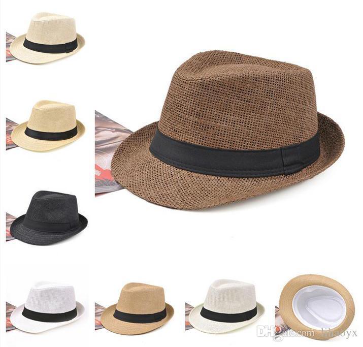 venta de la manera 7color sombrero de paja de los hombres de las mujeres sombrero de Fedora Panamá suave del jazz del sombrero M014