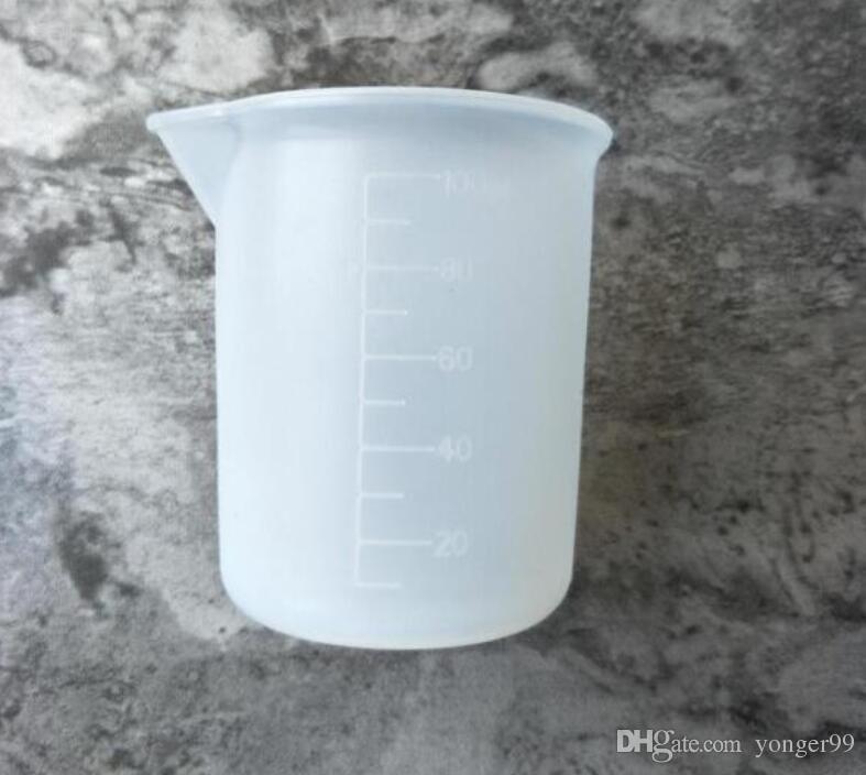 100 ml transparente copo de medição com ferramentas de medição de cola de silicone escala para diy cozimento cozinha bar de jantar acessórios atacado