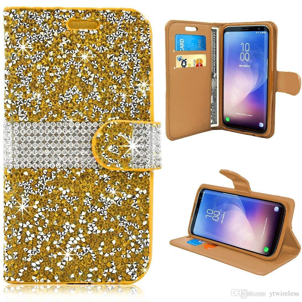 for iPhone 6 7 8 Plus XS MAX XR Leather Card Slot Handmade Diamond Rhinestone Crystal Bling Glitter Magnetic Closure Flip Folio Wallet Case