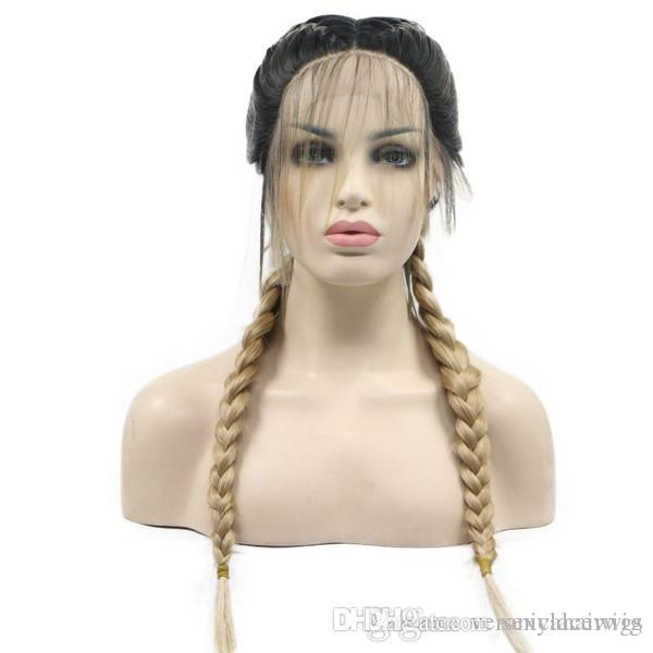 Free Shipping Blonde Ombre Braided Synthetic Lace Front Wigs for Women Dark Roots with Baby Hair Natural Braids Heat Resistant Fiber Hair