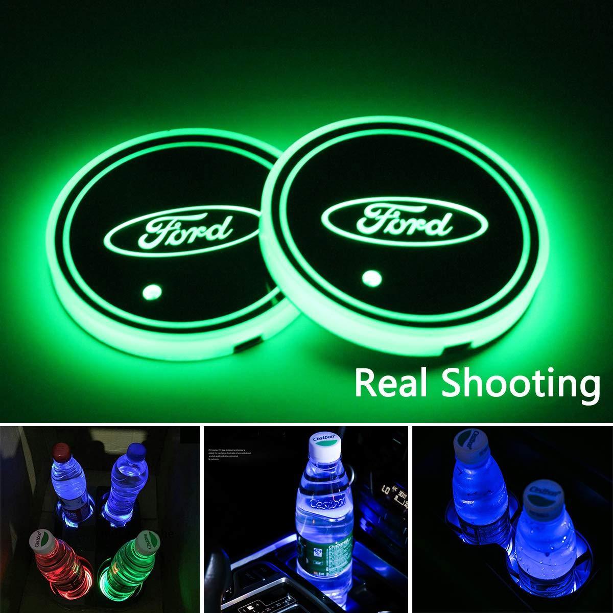 2PCS LED أضواء حامل كأس سيارة لفورد ، 7 ألوان تغيير USB شحن حصيرة سادة كأس الانارة ، مصباح LED جو الداخلية