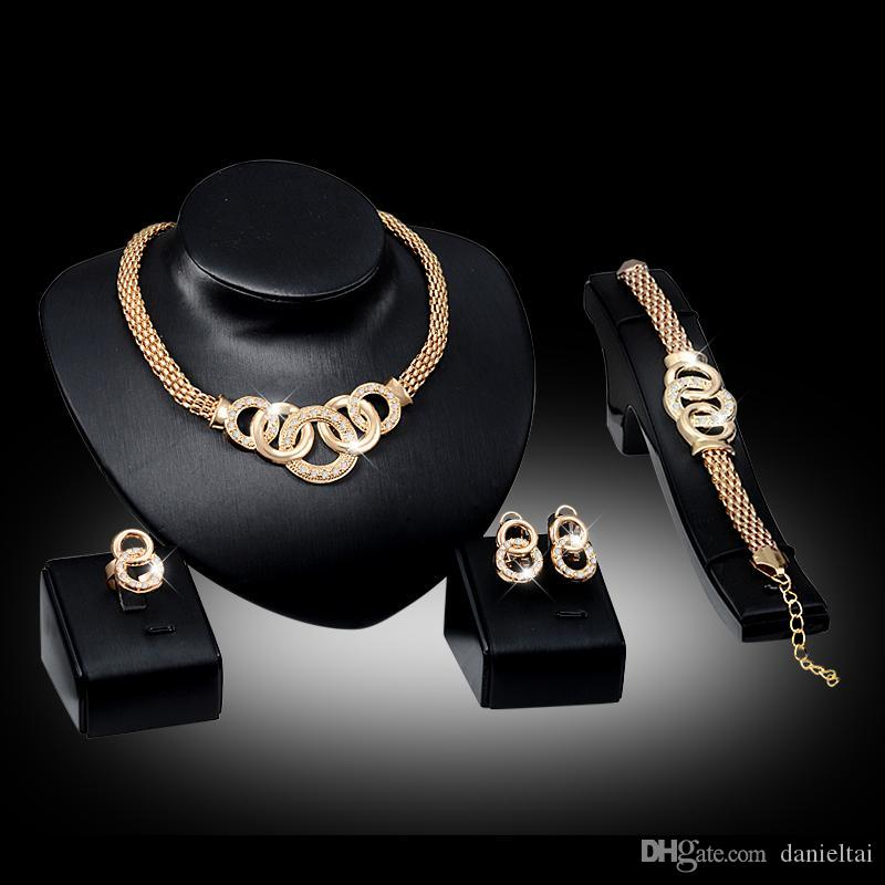 Bracelets Necklaces Earrings Rings Sets Women Fashion Rhinestone 18K Gold Plated Alloy Circles Party Jewelry 4-Piece Set Wholesale JS010