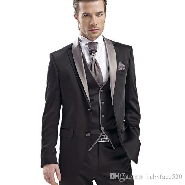 New Design Schwarzer Geschäftsmann-Klage-2019-Schal-Revers drei Stück nach Maß Hochzeits-Smoking für Bräutigam (Jacket + Pants + Vest)