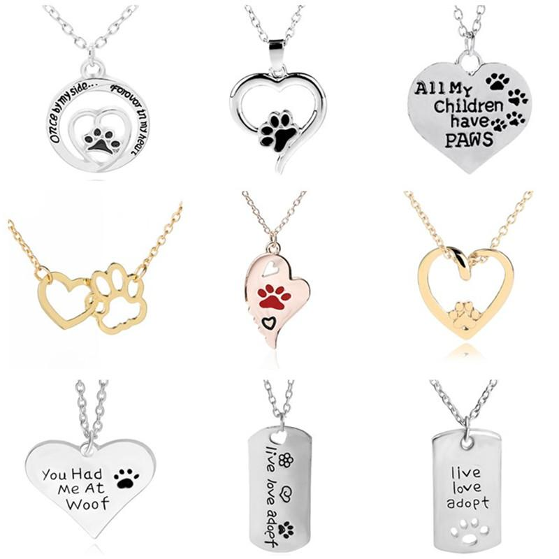 Fashion Necklace 19 Designs Heart Dog Paw Pendant Necklaces Silver Plated Alloy Heart Necklace For Women Gift