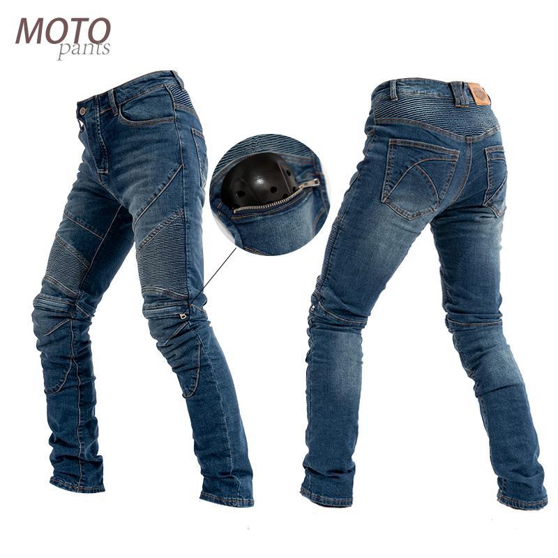 Мотоцикл брюки колено с молнией пояса протектор мотоцикла денима джинсы брюки внедорожных велосипедные штаны