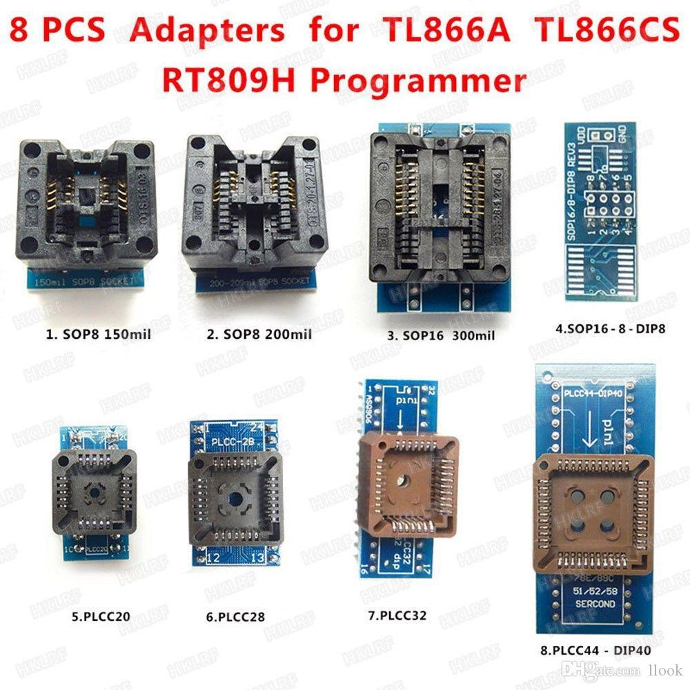 Freeshipping مجموعة كاملة 8 محولات TL866 مبرمج TL866cs / TL866A / EZP2010 + SOP28 + SOP8 + PLCC IC النازع ، وأفضل مجموعة مآخذ الإلكترونية