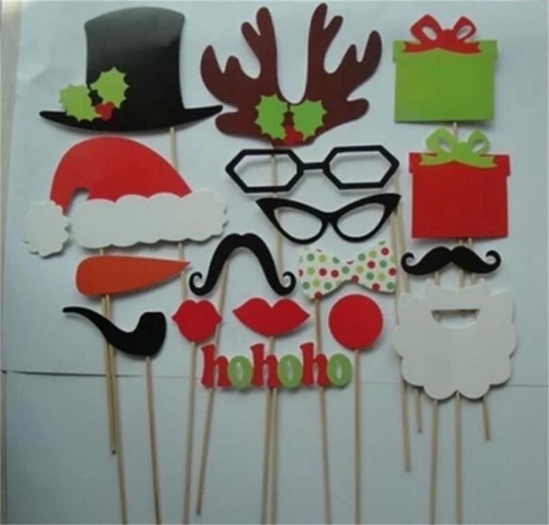 Festivas 17 PC / porción fiesta de Navidad DIY cabina de la foto Puntales bigote de labios Sombrero de la cornamenta de regalos del palillo