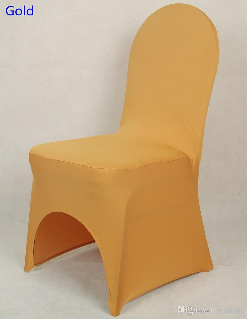 Gold colour lycra universal chair cover for wedding decoration spandex chair cover on sale banquet chair arch front open