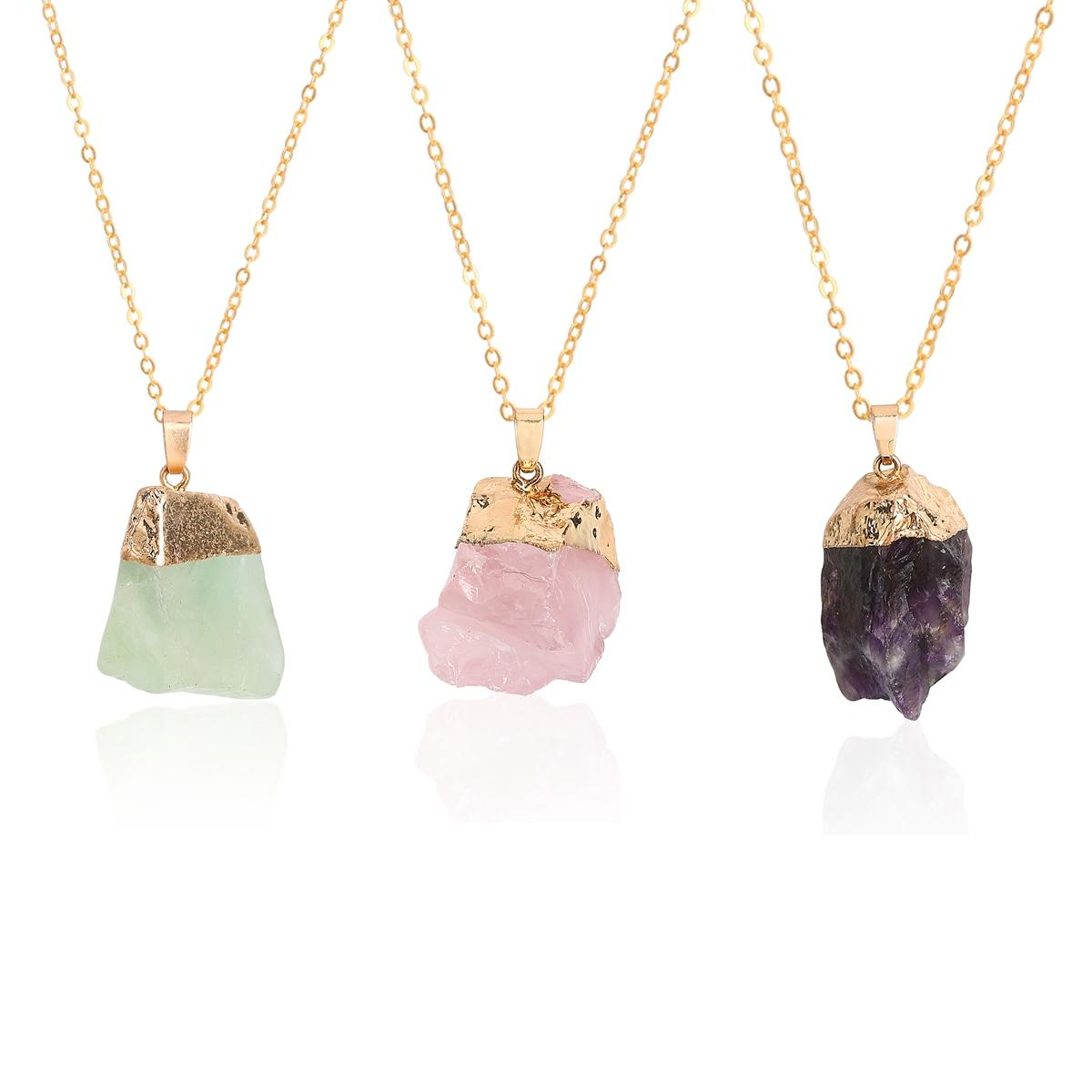 Natural Raw Gemstone Gold Color Colorful Irregular Shape Natural Stone Druzy Drusy Pendant Necklace for Women Crystal Quartz Necklace