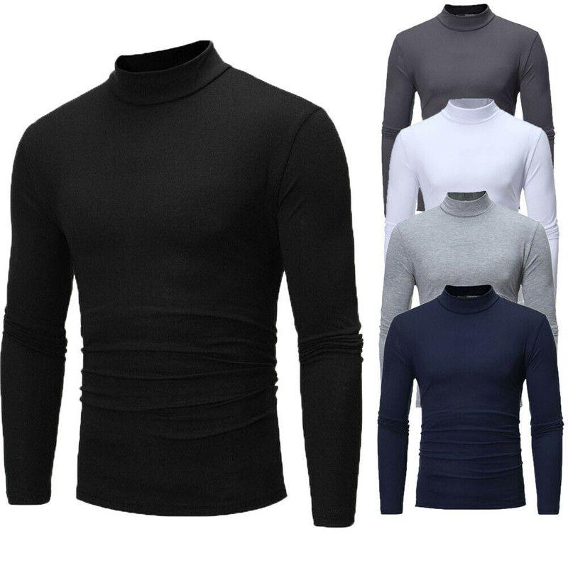 Marca New Gothic Homens Turtelneck pulôver manga comprida estiramento Magro camisola Básico Gola masculinos Blusa roupas de primavera
