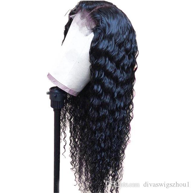 Curly 360 Lace Frontal Pelucas de cabello humano para mujeres con cabello de bebé Color negro Brasileño Lace Front Front Wig Plucked Plucked Full End