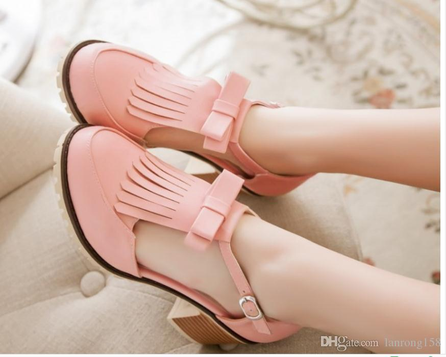 2019 Women's Sandals in Summer with New style Middle heel Coarse heel round head @155
