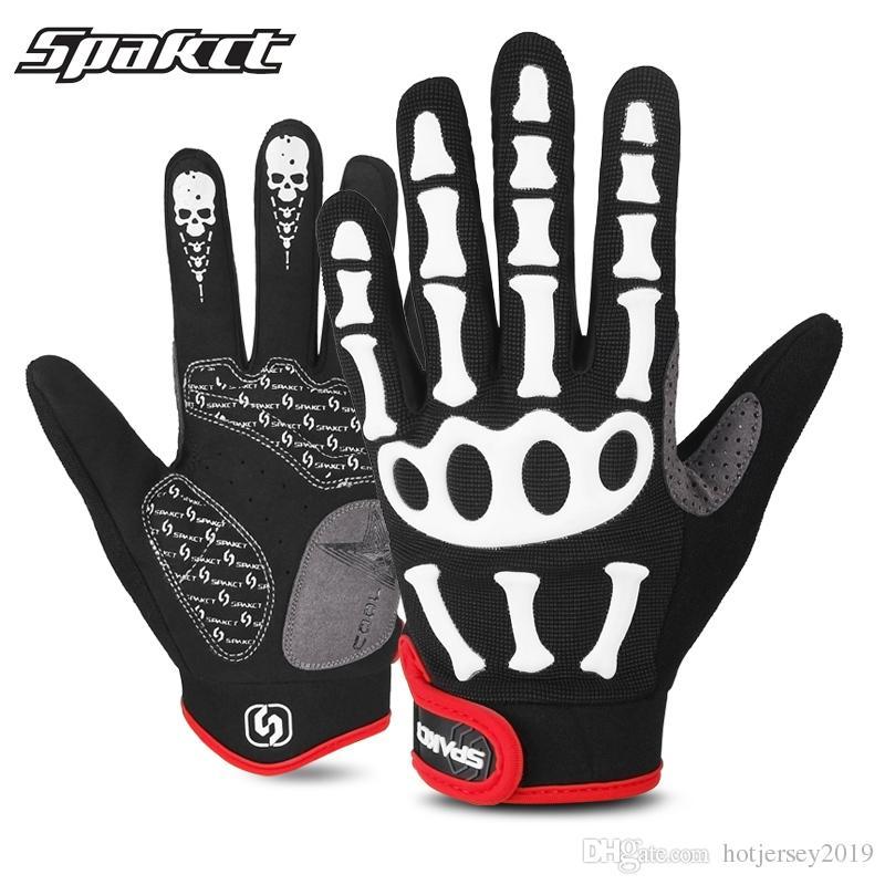 SPAKCT Short Finger Half Finger Bike Cycling Skull Gloves Black S-XXL