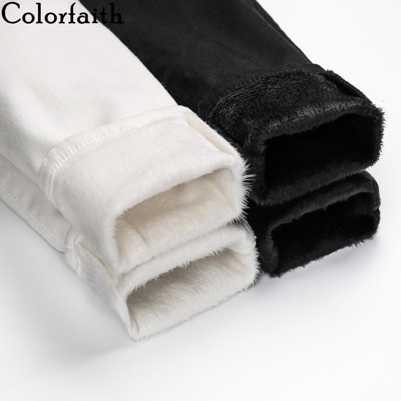 Colorfaith 2019 Frauen Jeans Zipper verdicken Warm Elastizität-dünne hohe Taillen-Hosen Damen Knöchel-Länge Weiß Schwarz Denim J2880 CJ191203