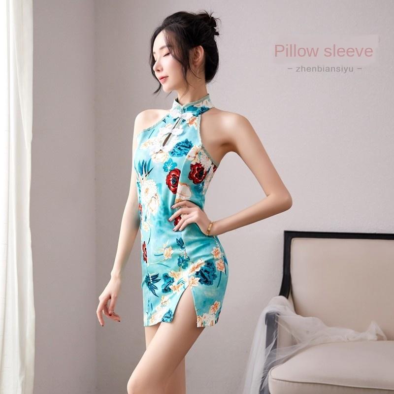 9tMlT сексуальной нижнего белья пижамы женского отпечатанные белье pajamaspajamas сексуального китайский стиль Cheongsam спинка полой щель С униформой искушать KHDDu