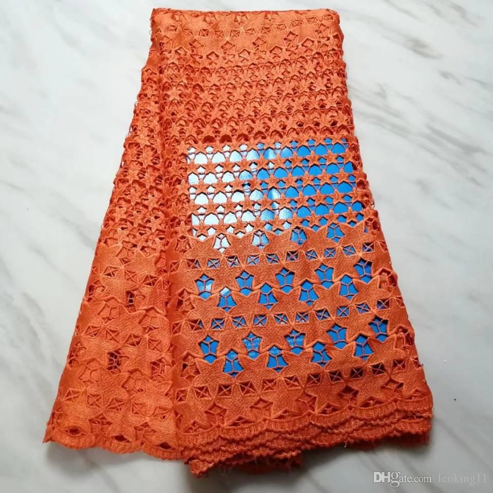 5Yards/pc New fashion orange african water soluble lace stars style embroidery french guipure lace fabric for dress BW25-6