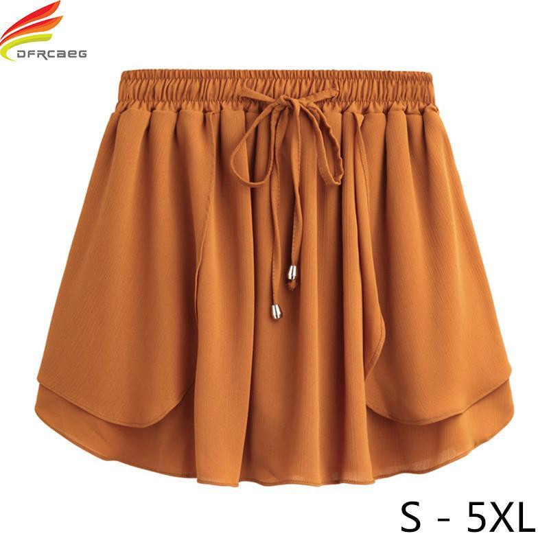Verão 2018 Mulheres Shorts Saias Plus Size S-5xl das Mulheres Mini Chiffon Shorts de Cintura Alta Elástica Fina A Linha Curto Feminino Y19050905
