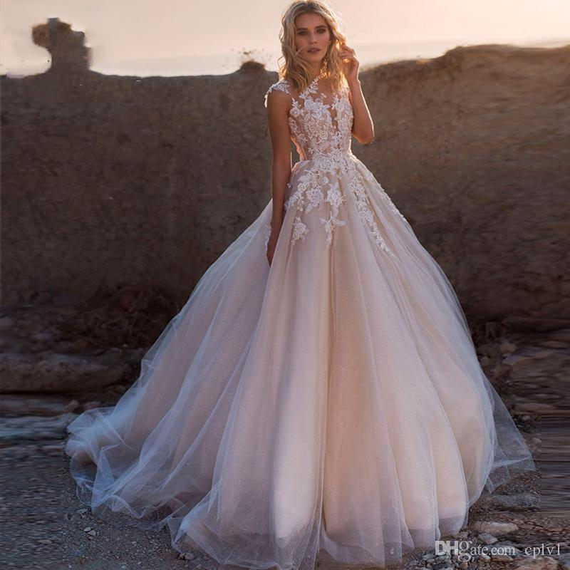 Illusion SpitzeApplique Brautkleider Brautkleid eine Linie ärmellose Tüll-Kleid-Schleife-Zug-Brautkleid mit Zurück-Tasten