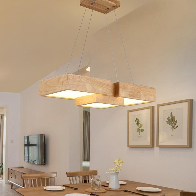 LED Nordic Lighting Pendelleuchte Holzhängelampe Kreative Massivholz-Esstisch Lampe Holz Wohnzimmer Licht Kleidung